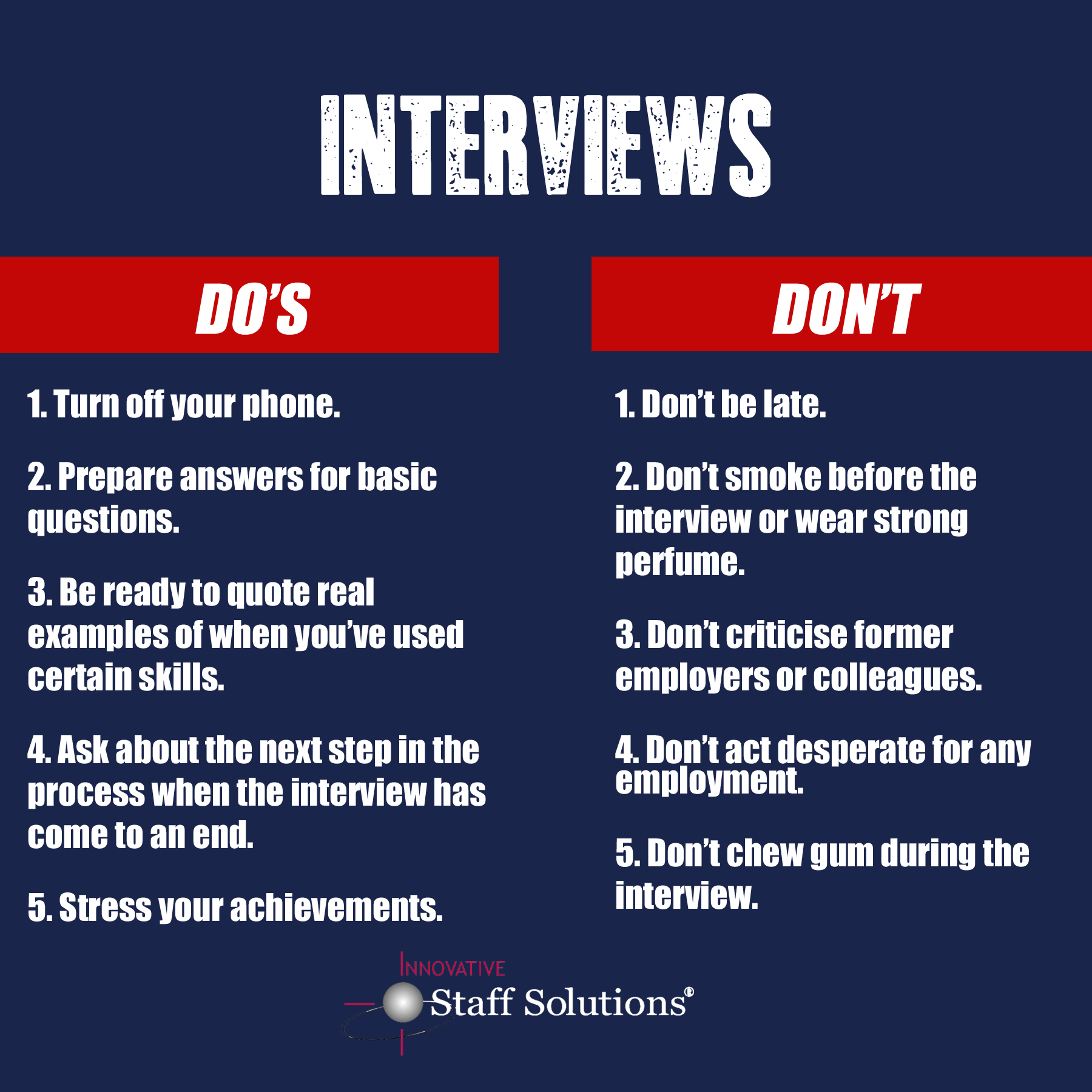 job interview don ts